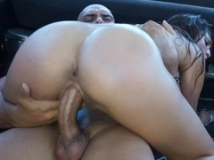 Busty Latina gets screwed in the bus