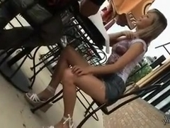 Hot and cute blonde girl played a small role in my voyeur public vid