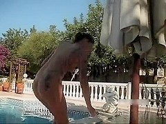 German blow job fuck and facial by the pool