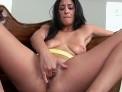 Sasha Meow is solo masturbating on her couch