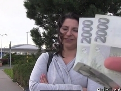 Natural busty Euro babe bangs in car in public