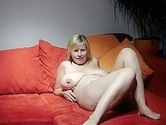 Busty Wife Cheating with Friend on Sofa