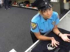 Slutty and brunette latina police woman gets her pussy fucked