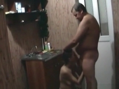 Milf washes her fat husband's cock in the shower, sucks his cock and has doggystyle sex.
