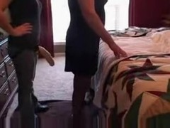 Fucking Husband with a big strap on