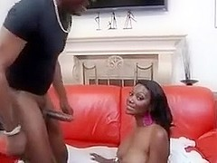 Black chick moans excitedly as she gets fucked