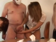 Femdom group party racing with handjobs to receive cum