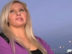 PublicAgent: Curvy blonde accepts sex for money offer at bus stop