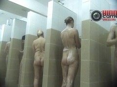 Nude babes taking a shower on a voyeur spy cam video