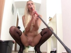 Hot blonde in sexy stockings plays with her pussy juice
