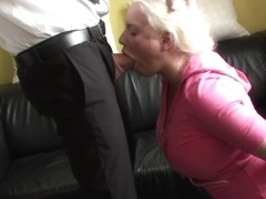 Facefucked chubby sub drooling all over cock