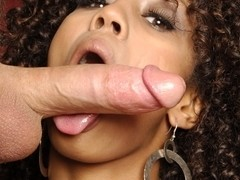 Sucking white cock like a pro in interracial video