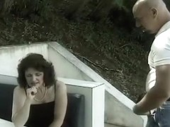 Brunette MILF Tart Slammed On Park Bench
