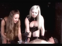 Tied up submissive helpless male gets hard CBT