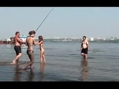Fishing at the local lake with Russian nude chicks