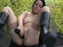 german whore with sex toy outdoor