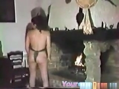 Brunette girl does some kind of masturbation dance, before fucking her man doggystyle.