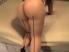 A big chubby white arse of my wife and a purple fake schlong