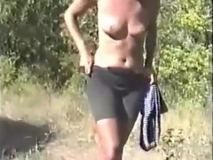 I set up the camera and we fuck outdoor