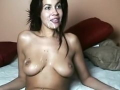 Horny amateur record with brunette, webcam, interracial, cumshot, big dick, couple scenes