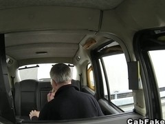 Blonde Finnish babe fucks in British fake taxi