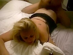 fucking  golden-haired angel very hard and talking bawdy to her.