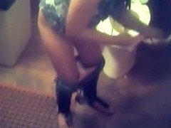 Nice girl in sandals takes a piss