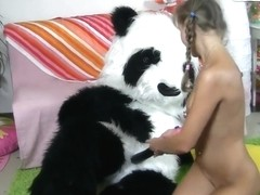 Hottie will be penetrated by a panda, take a closer look!