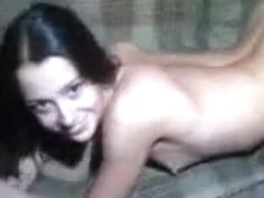 Young chick with dark hair demonstrating her sexy body