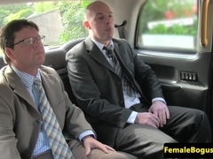 Spitroasted female cabbie fucked in threesome