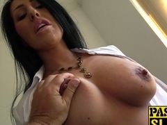 Busty black hair whore Candi Kayne masturbates for Pascal