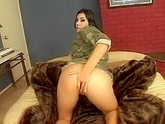 Brunette army girl has anal sex and gets facial