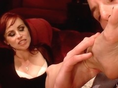 Two sexy foot maids tease fuck and footjob their boss