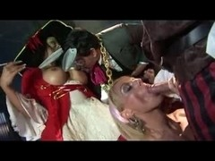 British blond whore in a FFFMM scene with pirates