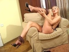 Breasty golden-haired FF nylons high heel mules