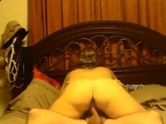 Ponytailed brunette goes for a wild ride on her bf's cock
