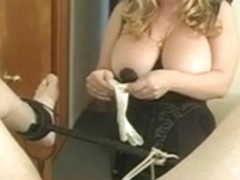 Large bumpers goddess Cristian fooling around with her slaves weenie