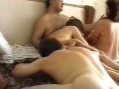 Kinky swinger couples fuck hard at home