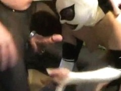 Dude in pantyhose gives head to a crazy chick in wrestling mask