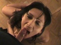 Slutty MILF gives a sloppy POV blowjob