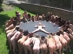 Amateur - Many Girls Squirt Fest on Trampoline