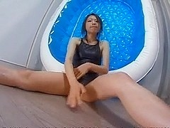 Asian woman with swimsuit and lotion