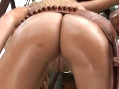 oiled busty cowgirl striptease