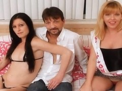 Skinny couple gets their asses pegged by big tittied femdom Strap On Princess