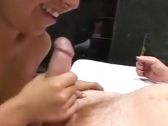 Exotic Brunette Licks A Dick For His Cum