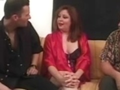Plump mother I'd like to fuck takes on three boy-friends