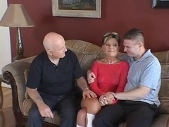 Spouse watches feisty golden-haired wife take dong on a ottoman