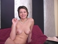 Brunette Hair disrobes out of her brassiere and strap
