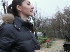 Euro brunette flashing in public for cash
