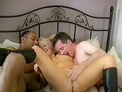short blonde hair slag with three cocks